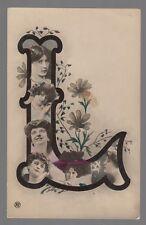 "[60617] Circa 1904 Real Photo Cuban Postcard Beautiful Woman In Large ""L"" Letter"