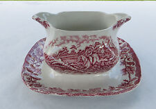 Pink Myott Myotts Country Life Sauce Boat with Fixed Saucer - Hunting Scene