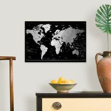 World Timezone map Canvas Wall Art Print, Map Home Decor