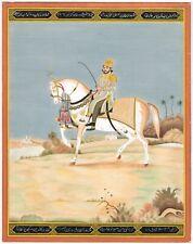 Mughal Miniature Painting Of Mirza Dara Bakht On Horse Son Of Bahadur Shah Zafar
