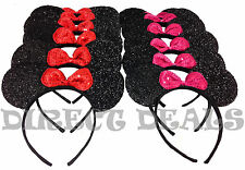 24 Minnie Mickey Mouse Ears Headbands Black Shiny Red Pink Bows Party Birthday