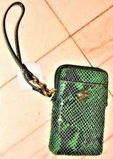 NWT COACH Green Python Embossed Leather Universal Phone Case Wristlet 67040 NEW