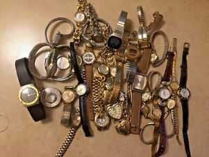Lot/32 Womens Watches Windup/Quartz/LCD for Parts/Repair or Batteries