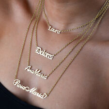 Personalised Any Name Necklace Real Silver, Gold, Rose-Gold Gift Pendant Chain
