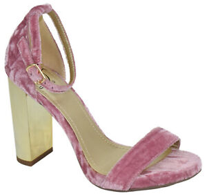 Delicious Women Thick High Heels Ankle Strap Peep Toe Mauve Pink Velvet SHINY-S