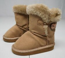 Toys R Us Girls 6 Toddler Wheat Brown Synthetic Leather Faux Fur Lined Boots