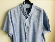 """F&F Blue & White Stripe Short Sleeved Shirt - size L approx 48"""" chest"""