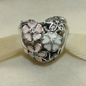 New Authentic Pandora Charm Poetic Blooms Flower Heart 791825ENMX W Suede Pouch