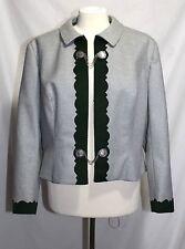 Belka KG - Austria Trachten - 46 (L) -Vintage Gray & Green Trim 100% Wool Jacket