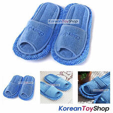 Microfiber Cleaning Slippers-Blue color Mop Slippers Shoes Floor Wipe Dust Korea