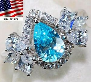 3CT Aquamarine & White Topaz 925 Solid Sterling Silver Ring Jewelry Sz 6, M1
