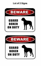 """2 count """"Beware Guard Boxer (silhouette) on Duty"""" Laminated Dog Sign"""