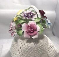 Vintage Royal Doulton Fine Bone China Rose Yellow Flower Basket Figurine.