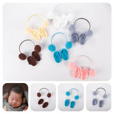 KQ_ ITS- Newborn Baby Wool Knitted Slippers with Headphone Toy Outsuit Photo Pro