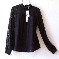 New~Medium~Cupio~Black Lace Blouse Shirt Holiday Party Romantic Boho Top~8/10/M