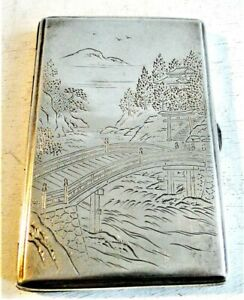 ANTIQUE FINELY ENGRAVED JAPANESE 950 SILVER SCENIC CIGARETTE CASE SIGNED 169 G.