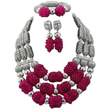 Purple Silver 3 layers African Nigerian Beads Bridal Wedding Party Jewellery Set