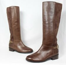 Cole Haan New Brown Leather Suede Knee High Moto Riding Equestrian Boots sz 10