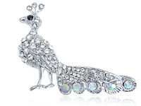 Silver Peacock Tail Feather Clear Crystal Rhinestone Silver Tone Bird Pin Brooch