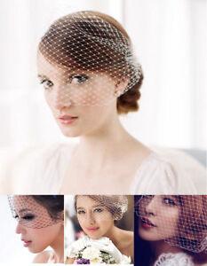 Vintage Bridal Wedding Birdcage Face Veil Net Fascinator With Two Side Combs UK