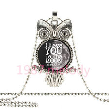 I love you  to the moon and back OWL Cabochon Glass necklace Silver pendant Y-25