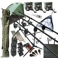 3 Rod MEGA pesca della carpa Set Up KIT CANNE MULINELLI Tackle Confezione Esche netto Shelter Bivvy