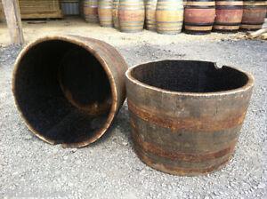 Large Genuine Half Whisky Barrel Planter 90 Litres Oak Whiskey Plant Container