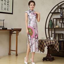 Elegant lady womens Slim Long style Qipao Chinese dress print Cheongsam S-XXL