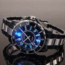OHSEN Mens 7 Modes Light 12 Hour Black Sport Water Proof Quartz Wrist Watch New