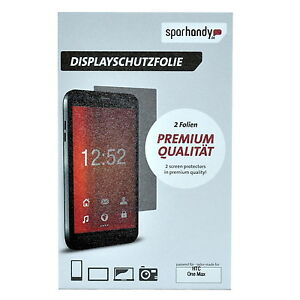 Sparhandy Screen Protector Displayschutzfolie for HTC One Max, 2 Folien, Blister