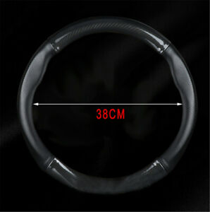Black Carbon Fiber Stitching Leather Steering Wheel Cover Non-slip 15 inch 38cm