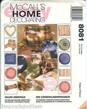 McCalls 8081 PILLOWS Home Decor headrest neckroll heart round pattern UNCUT FF