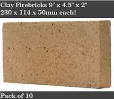 "2"" inch Clay Fire bricks cooker pizza oven firebricks BBQ heat set of 10"