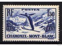 "FRANCE 1937 Y&T 334 ""CHAMPIONNATS DE SKI"", NEUF xx TTB"