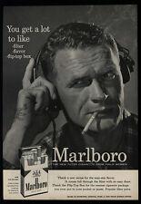 1956 MARLBORO Cigarettes - STEVE McQUEEN Look-Alike - Headphones - VINTAGE AD