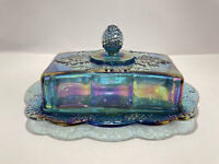 """Vintage Indiana Blue Harvest Grape Carnival Glass Butter Dish with Lid 7.5"""""""