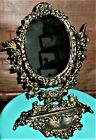 Vintage Rococo Style Oval Table Cast Iron Vanity Tilting Mirror