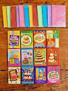 Hochwertige MINI Geburtstagskarten 12er SET Glückwunsch Karten Umschläge GKM1