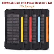 Power Bank DIY Kit 8000mAh 5V Portable Dual USB Waterproof Solar Charger Case BT