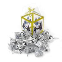 Evelyne Christmas Hanging Ornaments Assortment Silver Set of 48pcs - Stars, Ball