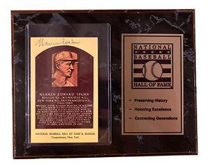 Warren Spahn & Bill Dickey Signed Cooperstown HOF Plaque Postcard w/ COA