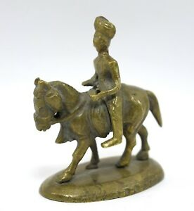 Nice vintage brass warrior horse rider office / home table decorative. G7-823