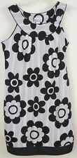 Robbie Bee 8 Cotton Dress Sleeveless Shift Scoop Neck Black White Floral 60's