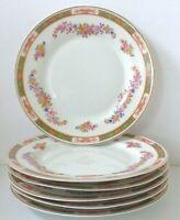 6 Vintage PMS Bavaria The Cassel Fine China Pink Floral Bread Dessert Plates