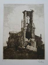 """LEOPOLD POIRE  (1879/1917) Gravure WW1 -   """" FLIREY """"  - Signé"""