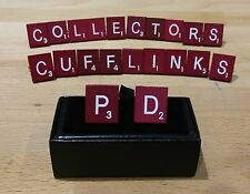 Pair of Purple Scrabble Cufflinks in a gift box, choice of letters, free postage
