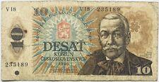 Czechoslovakia Banknote Czech Republic Czechia Slovakia 10 KorÚN 1986 Prague Eu