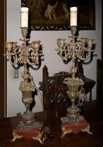 2 antichi800 splendidi candelabri candelieri bronzo marmo rosso Sicilia 5 fuochi