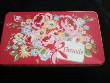 Cath Kidston Floral Metal Threads Tin  with some reels Sewing Haberdashery