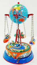 Western Germany Tin Wind Up Globe Carousel Merry Go Round Excellent